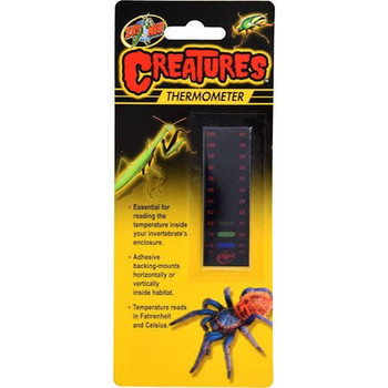 Zoo Meds Creatures Thermometer is essential for reading the temperature inside your invertebrate #;s enclosure. Adhesive backing-mounts horizontally or vertically inside habitat. Temperature reads in Fahrenheit and Celsius.