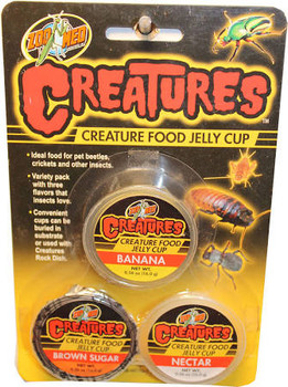 Zoo Meds Creatures Jelly Food Cups is ideal for pet beetles, crickets and other insects. Variety pack with three flavors that insects love. Convenient cups can be buried in substrate or used with Creatures Rock Dish.