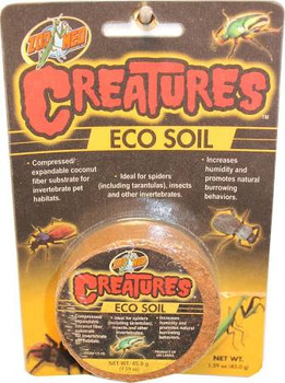 Zoo Meds Creatures Eco Soil is compressed/expandable coconut fiber substrate for invertebrate pet habitats. Ideal for spiders (including tarantulas), insects and other invertebrates. Increases humidity and promotes natural burrowing behaviors.