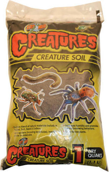 Zoo Meds Creatures Creature soil is a proprietary blend of natural materials including Peat Moss, Soil, Sand   Carbon. Ideal for spiders (including tarantulas), insects and other invertebrates. Increases humidity and promotes natural burrowing behaviors.