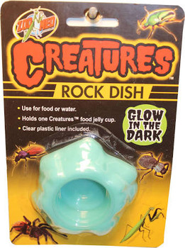 Zoo Meds Creatures Rock Dish can be used for food or water. Holds one Creatures food jelly cup. Clear plastic liner included.