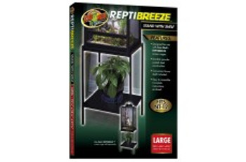 Zoo Med ReptiBreeze Stand with Shelf designed for use with our ReptiBreeze screen cages. Made with durable powder-coated steel has a convenient lower shelf and is easy to assemble. For use with NT-12.