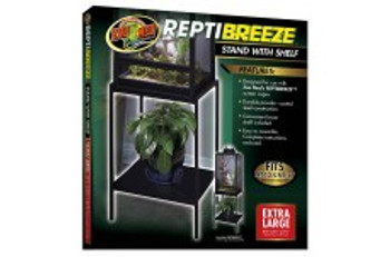 Zoo Med ReptiBreeze Stand with Shelf designed for use with our ReptiBreeze screen cages. Made with durable powder-coated steel has a convenient lower shelf and is easy to assemble. For use with NT-13 and NT-17.