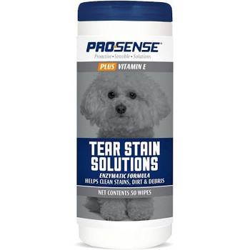 Pro-Sense Plus Tear Stain Solutions Wipes help clean stains, dirt and debris. These wipes provide a gentle Vitamin E formula while supporting a normal coat luster. These wipes are suitable for dogs of all sizes and everyday use.