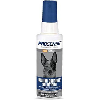 Pro-Sense Plus Wound Bandage Solutions Spray aids in healing minor skin burns, external ulcers and chronic wounds. This non-stinging formula is suitable for dogs of all sizes and everyday use. Spray to provide a liquid bandage that helps to seal and protect.