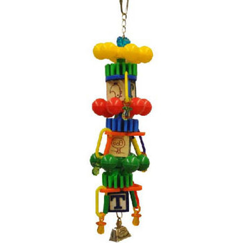About A-e Cage This Bird Cage Is Designed And Manufactured By A-e Cage Co., Llc. Colorful Plastic And Wood. Metal Chain And Bell Attached. For Small To Medium Sized Birds. A Variety Of Colorful Plastic Toys And Wooden Blocks Are Strung Together To Make Th