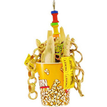 This Toy Features Corn Cob, Woven Vines, Shredded Paper, And Other Natural Textures All Overflowing In A Popcorn Box. Your Bird Will Even Enjoy Tearing Up The Real Ticket Stubs. This Super Fun Toy Is Sure To Keep Your Bird Occupied For Hours And Is Hung B