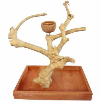 Space Between The Branches Help Provide Freedom For Your Bird To Flap Their Wings. Base Is Constructed With Quality Kamper Wood From Kalimantan. Has One Feeder Cup.