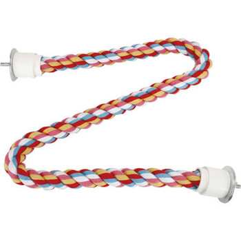 Durable Cotton Perch Is Easy On Your Bird's Feet And Provides A Stable Grip For Skittish Species. Metal Connectors Are Easy To Use And Extremely Durable. For Medium And Large Birds.