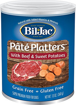 Delight your hungry pups palate with the delicious taste of Bil-Jac Pate Platters with Beef & Sweet Potatoes Canned Dog Food. This wholesome, savory food features real beef, chicken and sweet potatoes in a grain-free, gluten-free recipe thats ideally suited for the pooch with food sensitivities or allergies. Its fortified with essential vitamins and minerals to deliver complete and balanced nutrition, while naturally-sourced omega-3 and 6 fatty acids keep him looking as good as he feels with healthy skin and a bright, shiny coat. Ingredients: Chicken Broth, Beef, Chicken, Tapioca Starch, Sweet Potato, Natural Flavor, Salt, Pea Protein, Caramel, Potassium Chloride, Calcium Sulfate, Choline Chloride, Guar Gum, Locust Bean Gum, Vitamin E Supplement, Ferrous Sulfate, Zinc Oxide, Vitamin B12 Supplement, Vitamin A Supplement, Niacin Supplement, Calcium Pantothenate, Thiamine Mononitrate, Copper Amino Acid Complex, Manganese Amino Acid Complex, Biotin, Riboflavin Supplement, Sodium Selenite, Pyridoxine Hydrochloride, Vitamin D3 Supplement, Beta-Carotene, Potassium Iodide, Folic Acid. Calorie Content: 498 kCal per can.