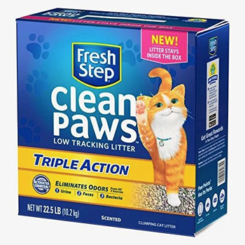 Fresh Step Clean Paws Triple Action Cat Litter, Low Track, Scented, Low Dust, 22.5lbs
