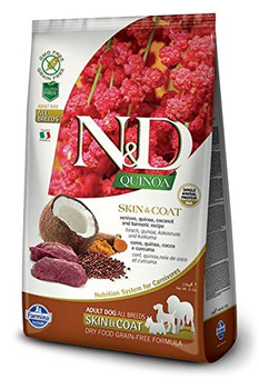 ingredients: Fresh Boneless Venison (18%), Dehydrated Venison (18%), Pea Starch, Fish Oil (from Herring), Quinoa Seed (8%), Flaxseed, Dried Coconut (2.5%), Turmeric (2.5%), Inulin, Fructooligosaccharides, Yeast Extract (source Of Mannan-oligosaccharide