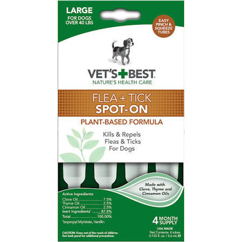 Flea and Tick Spot-On kills and repels fleas and ticks. Easy pinch and squeeze tubes. Eash dose provides protection for up to one month. For dogs over 40 lbs Large and for dogs 12 weeks and older.