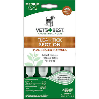 Flea and Tick Spot-On kills and repels fleas and ticks. Easy pinch and squeeze tubes. Eash dose provides protection for up to one month. For dogs under 16-40 lbs Medium and for dogs 12 weeks and older.