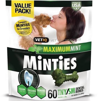 <p>Minties Dental Dog Treats Provide Vet Recommended Dental Care For Your Dog. Each Delicious Bone Has A Triple Action Formula To Help Clean Teeth, Promote Fresh Breath And Help Reduce Plaque And Tartar. Whats More, Minties Dental Dog Treats Come At Big Savi</p>