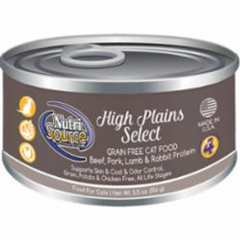 Offering A High Quality, Holistic Recipe, Nutrisource Grain Free High Plains Select Canned Cat Food Is An Easy To Digest Pate Your Cat Is Sure To Love! This Recipe Also Has Added Prebiotics And Highly Digestible Minerals For Immune And Growth Su