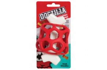 Keep your dog busy and entertained with Dogzilla? Bone Stufferz! These durable chew toys have a tough nylon bone centered in an open rubber shell making it strong enough for even the toughest chewers. Make the toy more interesting for your pet by adding their favorite treats inside the rubber shell.