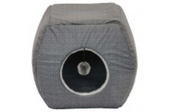 14in Premium Cat Pop up Geo Hideaway Collapses into a Cuddler.  Has a hanging activity ball for endless play time.  Printed Tricot Fabric.  Provides dual hide away and cuddler bed for cats.