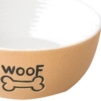Ethical Nantucket Woof Dog Dish Tan 5in