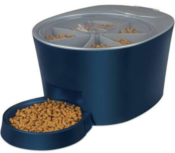 The PetSafe Six Meal Feeder is designed for the busy pet parent. It is great for feeding your pet during the day while at work or while traveling for the weekend. Use the digital clock to program six pre-portioned meals per fill---whether it's six smaller meals a day, two meals a day for three days, or one large meal every day for six days. Each tray slot holds 1 cup of dry dog or cat food, plus the bowl holds 1 cup for an extra meal that is ready-to eat. If you want to immediately dispense the next scheduled meal, simply push the Feed now button. The remaining meals will dispense at their scheduled times. To stop the feeder from dispensing food without losing your programmed meals, press the Sleep Mode button. The PetSafe Six Meal Feeder keeps your pet's healthy feeding routine no matter where you are.