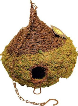 Galapagos Woven Birdhouses and Hides are made with our Moss Vine, and are extremely durable and meant for outdoor or terrarium use. The nests or hides maintain their shape through the elements and will not deteriorate for multiple years. Snakes love them and they also make it easy spot your animal inside his hide. Each house comes with an elegant chain to easily hang outdoors from a tree branch or hook.