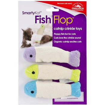 SmartyKat's Fish Flop toys combine three of a cat's favorite things ƒ?? catnip, crinkle and feathers! The stuffing-free toys come two to a pack, and are lightweight and perfectly sized to bat and carry. SmartyKat catnip is always produced without chemicals and pesticides. SmartyKat gives pet parents the best of all worlds: innovative products, stylish designs, environmental responsibility, and exceptional value with a variety of toys to meet a cat's need for play, scratching, wellness, rest, and fun! A member of the Worldwise family of pet products, SmartyKat is grounded in the principles of pet safety, customer satisfaction, and environmental responsibility. SmartyKat products are designed to meet or exceed all applicable safety standards. They are then tested against those standards to ensure they meet our strict quality and safety requirements ƒ?? ensuring they're safe for all members of your family. SmartyKat offers a complete satisfaction guarantee. If a customer is dissatisfied with a SmartyKat product for any reason, they will replace it or refund it.