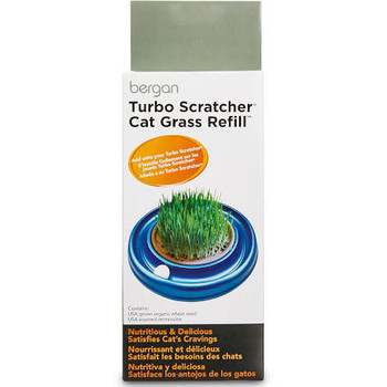 Bergan Turbo Scratcher Cat Grass Refill; The Turbo Cat Grass Allows Cats To Munch In A Healthy And Fun Way! Attaches With Ease To The Bergan Turbo Scratcher Or Star Chaser. Simply Add Water To Wheat Seed And Watch It Grow. Now You Can Control What Your Fe