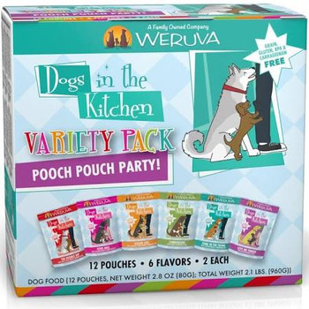 Weruva Dogs In The Kitchen Grain Free Pooch Pouch Party! Variety Pack Wet Dog Food Pouches-2.8-oz, Case Of 12-{L-tx}