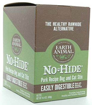 """What dog doesnt crave the delicious, juicy taste and aroma of pork? Earth Animals No-Hide Pork Chews are paws down, pure pork awesomeness! Here is our pig """"tale; we realized pork it is now widely recognized as a highly palatable meat source. Suddenly becoming the darling of high-end dog food and treats. Nevertheless, it is a novel protein source particularly useful for allergy-prone dogs. Cant have Chicken or Beef? This is why we chose pork as our novel, single sourced protein. """"The other white meat?"""" The perfect alternative to proteins that dogs can so commonly have allergies too. Our Hormone Free Pork contains superior levels of amino and essential fatty acids. Pork is lean as well as low in fat and calories. It is nutrient-dense and satisfying. Pork is a rich source of minerals such as Iron, Phosphorus, Selenium, Zinc, Magnesium and Calcium. Pork is highly enriched with Vitamin B6, B12 and Thiamin. No-Hide Pork Chews are chemical-free, all natural and easy to digest. Our chews are made with humanely raised, pork.They are rolled out and baked with fresh eggs and olive oil for a one of a kind chew your dog will love! Earth Animals No-Hide Pork Chews are long lasting, wholesome and created for your dogs enjoyment. We take great pride in bringing No-Hide to your best friend."""