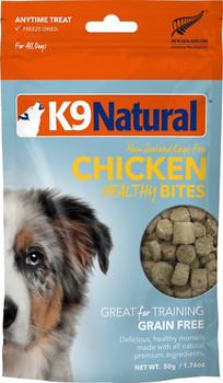 K9 Natural Healthy Bites Chicken Freeze-Dried Dog Treats, 1.76-oz bag; Reward your dog with a 100% natural treat you both can feel good about. This K9 Natural Healthy Bites recipe is crafted with just one ingredient?mouthwatering morsels of New Zealand cage-free chicken. Each bite is made with a freeze-drying method to lock in the nutrients and flavor your pup deserves and contains zero grains, gluten, artificial preservatives or flavors. Give your pal Healthy Bites as a tasty treat or as a training reward.