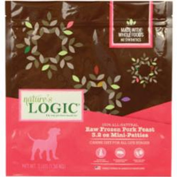 Nature's Logic Dog Frozen Pork Patties 3.2oz 3lb Bag