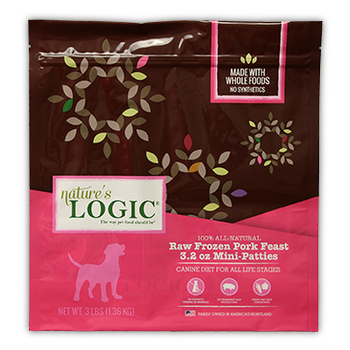 Nature's Logic Dog Frozen Pork Patties 8oz 6lb Bag