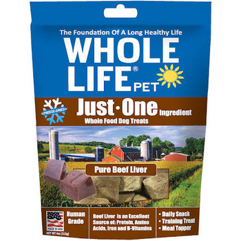 Whole Life Just One Grain Free Pure Beef Liver Freeze Dried Dog Treats-4-oz-{L+x}