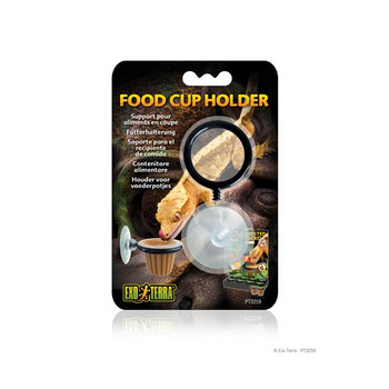 The Exo Terra Food Cup Holder Is Designed To Conveniently Hold The Food Cups For The Exo Terra Crested Gecko Food (pt3260) And The Exo Terra Day Gecko Food (pt3261). The Cup Holder Is Easy To Install Due To The Suction Cup. Simply Choose The Desired Heigh