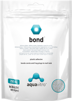 bondƒ?› is a unique low melting temperature adhesive plastic. bondƒ?› can be used to secure coral to rockwork or to fuse rockwork together for more stable foundations in reef aquaria. bondƒ?› is completely non toxic and inert with no impact on aquarium chemistry. bondƒ?› has a much lower melting temperature than similar products making it safer and easier to work with. If necessary, bondƒ?› can be reheated and reworked multiple times until desired results are achieved.