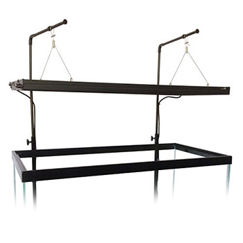 Sold as a single hanger, each hanger includes a lower portion that mounts to the aquarium stand using the included wood screws. The upper portion slides into the lower portion and can be adjusted to the desired height. Each hanger is rated to hold 10 lbs. Use multiple hangers depending on the length of your light fixture.