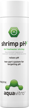 aquavitro? shrimp pH<sup>b</sup> is one part of a two-part system which aids in replicating the water chemistry found in the native habitats of freshwater shrimp by buffering water to the natural pH for each specific type of shrimp. Used according to directions, shrimp pHb maintains the proper pH parameters of freshwater shrimp while also softening water and supporting growth of plants in shrimp aquaria. shrimp pH<sup>b</sup>  is made from a unique buffer system that is extremely stable and does not add sodium, which can damage plants in the aquarium.