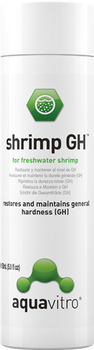 aquavitro? shrimp GH adds a complete spectrum of minerals to the shrimp aquarium. It takes into consideration both the mineral requirements of shrimp and the mineral content of their natural waters in order to create an optimal shrimp environment. shrimp GH adds calcium, magnesium, potassium, and iron as well as 6 trace minerals all in the correct biological ratio for shrimp.