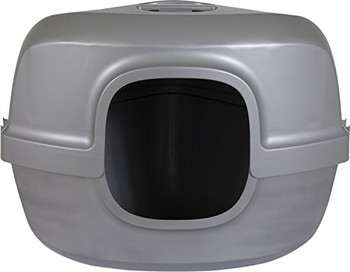 High sides reduce litter scatter. Durable plastic with reinforced bottom. Latches hold hood and base together. Odor-absorbing carbon filter included. . . Ideal for cats that like to dig in litter