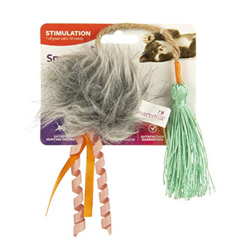 Smarty Kat Tassel and Ball Thwapper Teaser Cat Toy Plush ball that resembles prey is enticing to cats with added ribbons, jute, and string providing multiple attractants to cats. Contains Smarty Kat pure and potent catnip which is always produced without chemicals or pesticides. For most cats catnip provides a burst of energy followed by a perfectly calm period Smarty Kat gives pet parents the best of all worlds: innovative products, stylish designs, environmental responsibility, and exceptional value with a variety of toys to meet a cats need for play, scratching, wellness, retreat, rest, and fun! Smarty Kat products are designed to meet child safety standards and are backed by our 100% satisfaction . If a customer is dissatisfied with a Smarty Kat product for any reason, we will replace or refund it.