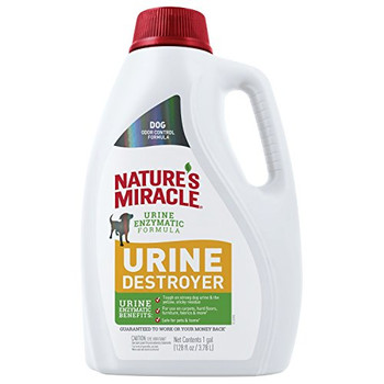 Nature #;s Miracle Urine Destroyer for dogs is tough on strong dog urine and the yellow, sticky residue that comes along with it. The bacteria-based formula produces enzymes when it comes in contact with bio-based messes to target urine and freshens wi