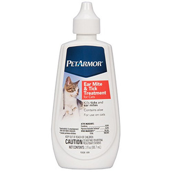 PetArmor Ear Mite & Tick Treatment for Cats, 3-oz bottle; PetArmor Ear Mite & Tick Treatment for Cats is a simple way to kill ticks and ear mites in cats and helps relieve the constant itching caused by these pests. This powerful formula also contains aloe to help soothe your pets ears, and can be used on cats and kittens 12 weeks of age and older. Treat your cats ear mites quickly so she can get back to enjoying her life itch-free.