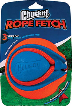 3 ways to play: Kick it, tug it, throw it! Rope and handle self-store for convenient, safe play. Indentions make it easy for the dog to bite and catch during play Recognizable Chuckit! Colors Materials: EVA Foam, Oxford Fabric, Nylon Rope
