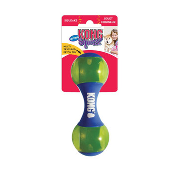 KONG Squeezz Action Dumbbell Dog Toy Blue Small