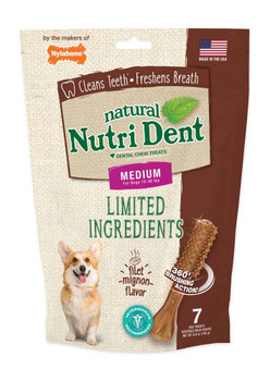 Nylabone Nutrident Filet Mignon Dental Chew Treat Medium Pouch 7ct