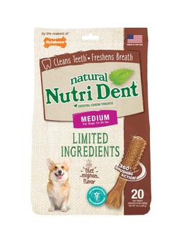Nylabone Nutrident Filet Mignon Dental Chew Treat Medium Pouch 20ct