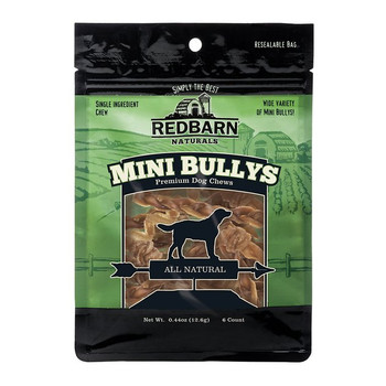 Redbarn Naturals Mini Braided Bully Sticks Dog Treats, 6 count; Give your pal a tasty reward you both can agree on with Redbarns Natural Mini Braided Bully Sticks. These single-ingredient dog chews pack protein sourced from free-range, grass-fed cattle and are 100% free of additives and preservatives. As a safe alternative to rawhide treats, these bully sticks make the perfect low-calorie, high-protein reward for any canine companion. And since they are mini, they are especially paw-fect for smaller dogs. Watch as your sidekick gnaws on these delectable, oven-roasted treats with pure delight!