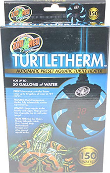 Automatic preset aquatic turtle heater features 150  watts for heating up to 50 gallons of water. Preset:  Simply attach to the inside wall of your turtles enclosure and plug in. The TURTLETHERM will warm the water to 78 #;F (26 #;C). SAFETY: The TU