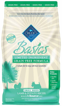 Blue Buffalo Blue Basics Grain Free Small Breed Adult Lamb And Potato Recipe Dry Dog Food Was Made For Dogs Who May Be Having Sensitivities To Ingredients Found In Traditional Pet Foods.  With Added Pea Fiber And Pumpkin To Help Support Gentle Digestion,