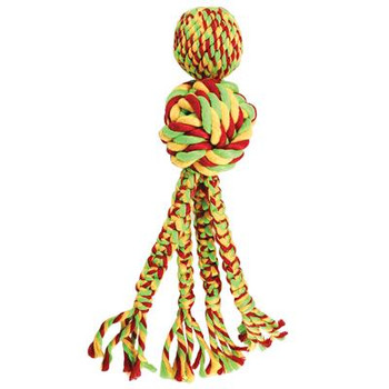The KONG Wubba Weave with Rope combines the thrill of fetching and tugging with a long-lasting chewing experience. The twisted knotted rope iswoven to provide a long-lasting outlet for natural chewing instincts while also helping clean teeth and gums. The long tails also made with woven ropeare ideal for natural thrashing fun. Adding to the engagement is a squeaker that entices for even longer lasting play sessions. Great for both indoor andoutdoor play.